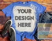 Bleached Gildan Softstyle Heather Royal 64000 Shirt Mock-up Wood background Shirt Mock-up, DIGITAL FILE ONLY