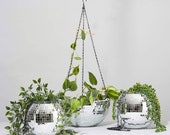 Large Mirror Ball Planter Hanging or Standing Various sizes Decor Mirror Ball