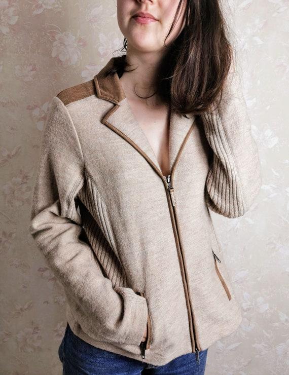 Vintage 70s Beige Suede Sweater/Cardigan/Jacket