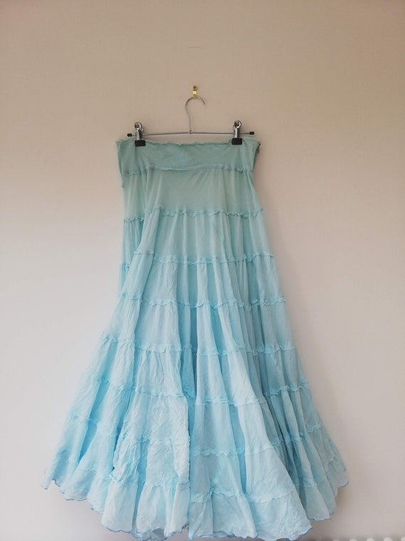 Vintage 90s pale aqua turquoise tiered cotton maxi