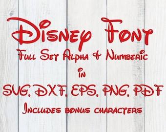 Disney Font Full Set Alphabet Numeric SVG PNG Files Cricut Silhouette DIY Clipart Iron Transfer Scrapbook Journal Craft Die Cut