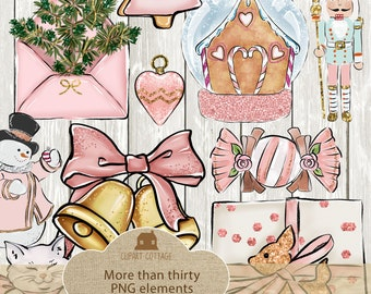 Christmas Watercolor Pink Glitter Nutcracker Color Printable PNG Instant Download Digital Crafting Scrapbook Clipart Graphic Vector