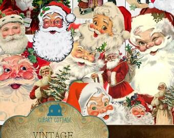 Antique Vintage Prim Collage Christmas Santa Claus Clipart Download Instant Printable Junk Journal PNG Party Scrapbook Ephemera Retro