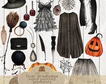 Halloween Watercolor Hand Painted Witch Pumpkin Prim Clip Art Clipart Broomstick Spooky Ghost Invite Costume Party Favor