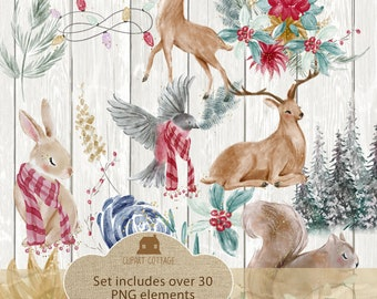 Graphic Antique Vintage Holiday Watercolor Prim Collage Christmas Icons Prim Clipart Classic Set Retro PNG Woodland