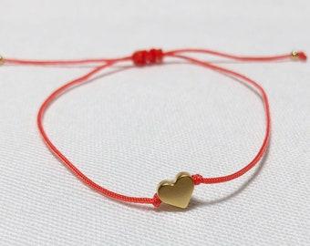 Tiny Gold Heart Bracelet,Friendship Cord Bracelet,Love Charm,Wish Bracelet,Bridesmaid Gift,Birthday Gift,Gift for Her,Made in Greece