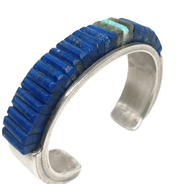 Old Pawn Navajo Lapis Multistone Cornrow Bracelet