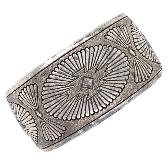 Navajo Old Pawn Stamped Pawn Silver Cuff Bracelet