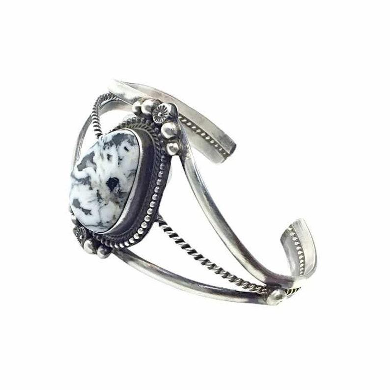 Sheila Becenti Navajo White Buffalo Sterling Silver Twist Wire Bracelet Native American