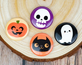 Set of Four Halloween Buttons | Fall Pins | Halloween Flair | 1 Inch Pins