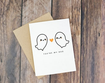 You're My Boo Halloween Greeting Card | Cute Ghosts Card | A2 Size Card