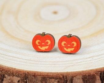 Cute Jack-o-Lantern Stud Earrings | Halloween Pumpkin Push Back Earrings | Wood Stud Earrings