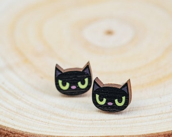 Black Cat Stud Earrings | Halloween Push Back Earrings | Wood Stud Earrings