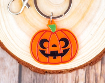 Cute Halloween Jack-o-lantern Keychain | Orange Acrylic Keychain | 1.5 Inch Charm
