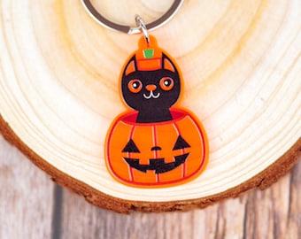 Cute Halloween Black Cat and Pumpkin Keychain | Orange Acrylic Keychain | 1.5 Inch Charm