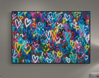 100% Hand Painted Banksy Love Hearts Canvas Wall Art, Graffiti, Street Art Painting