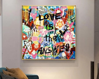 Love is The Answer Pop Art Painting, Banksy Style Canvas Wall Art, 100% Hand Painted Graffiti, NOT PRINT