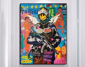 Banksy Smiling Soldier Canvas Oil Painting, Graffiti Modern Pop Art, 100% Hand Painted, NOT PRINT