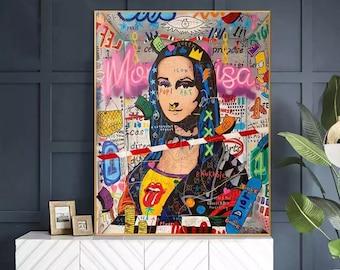 Banksy Mona Lisa Canvas Oil Painting, Graffiti Modern Pop Art, 100% Hand Painted, NOT PRINT