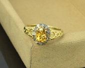 Citrine ring engagement ring November birthstone ring 925 Sterling Silver Pave Diamonds ring