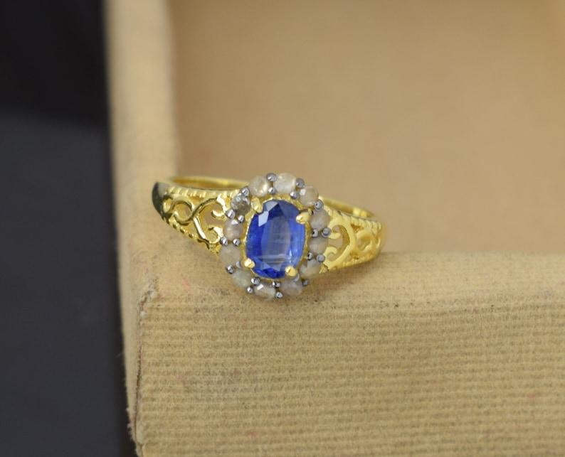 wedding ring Engagement ring, Kyanite Ring Pave Diamond Ring 925 Sterling Silver