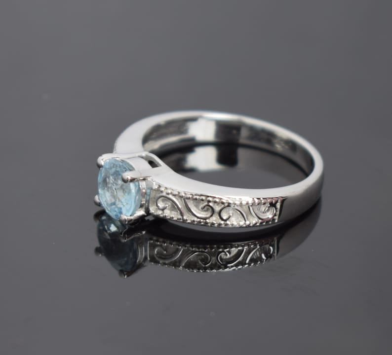 Promise Ring, Anniversary Ring 925 sterling silver engagement ring Blue topaz Ring Wedding Ring