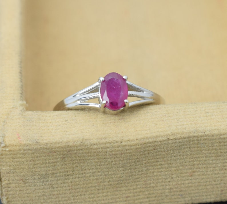 Promise Ring Simple Ring 925 Sterling Silver Ring Ruby Ring
