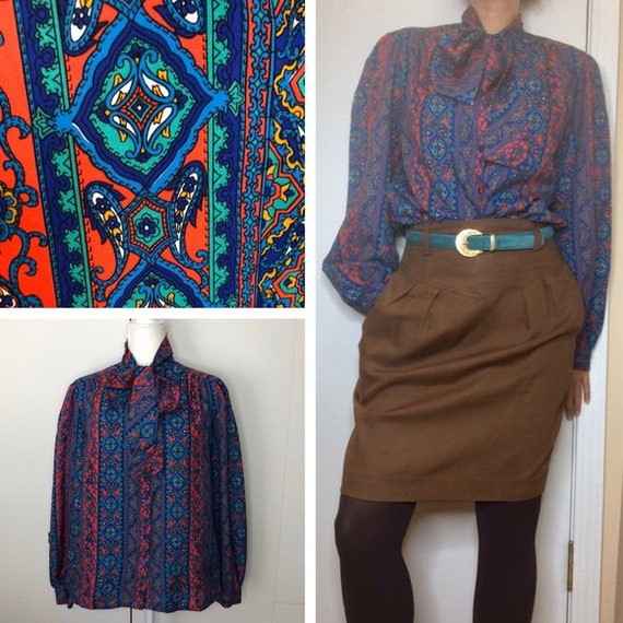 Vintage 70's bohemian pussy bow blouse