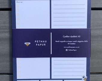 Anrheg Cymraeg Welsh Gift Present Anrheg Penblwydd Cynllun / Cynlluniwr Dyddiol Pad Nodiadau Daily Planner Notepad Recycled Paper A5