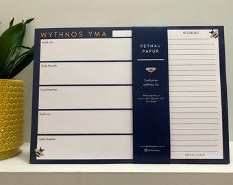 Anrheg Cymraeg Welsh Gift Anrheg Penblwydd Cynllun / Cynlluniwr Wythnos / Wythnosol Pad Nodiadau Weekly Planner Notepad Recycled Paper A4