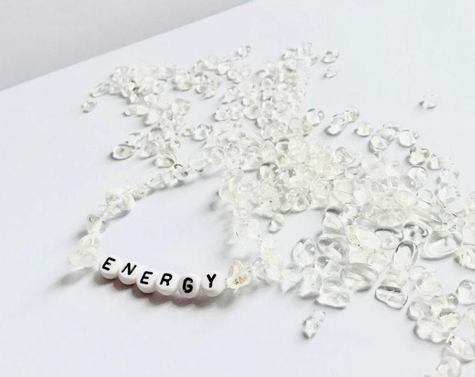 Featured listing image: Personalised Clear Quartz Crystal Healing Beaded Bracelet - Motivational Gift Clear Quartz Bracelet / Name Bracelet / Name Crystal Bracelet