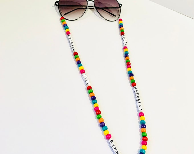 Featured listing image: Vacay Sunglasses Chain / Beaded Sunglasses Chain / Ibiza / Mykonos / Cannes / Bali / Marbella / Glasses Chain / Can be Personalised / Y2K