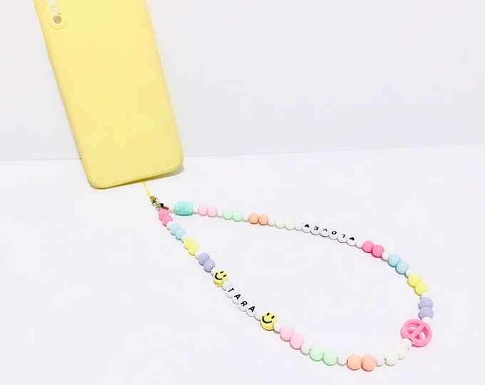 Featured listing image: Personalised Phone Beads Phone Charm - Candy Theme / Pastel Beads / Peace / Beaded / IPhone Charm / Phone Beaded Charm Phone Accessories Y2K