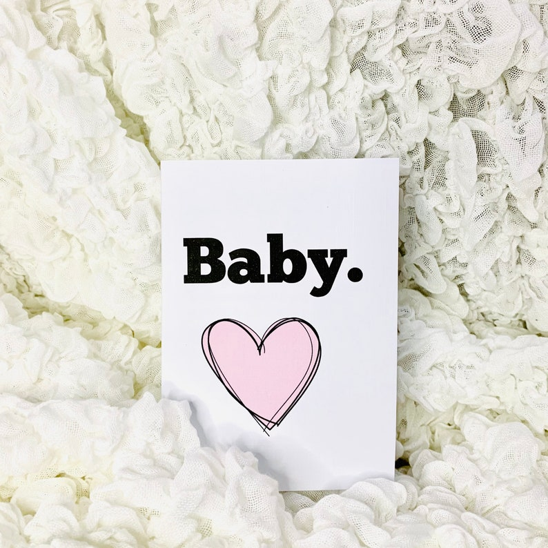 Baby Boy Card Baby Girl Card with Pink or Blue Heart New Baby Card with Envelope
