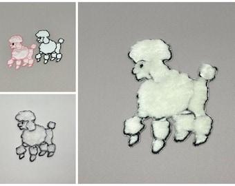 Fuzzy Poodle Iron On Appliques- 3 sizes