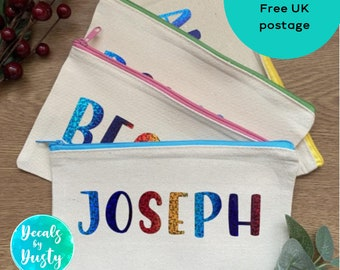 Personalised Rainbow Print Case// Sparkly Font, Perfect Stocking Filler Gift for Children. Personalised pencil case, back to school