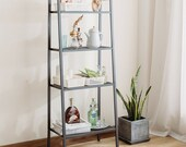 Metal Ladder Shelf 4-Tier Bookshelf Bookcase Storage Rack Plant Display Shelving Unit Living Room Decor Furniture Modern Organiser Stand UK