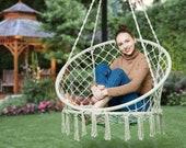Comfort Hanging Hammock Swing - Bohemian Chair Child or Adult Size Children home bedroom balcony cradle chair Indoor Outdoor Macrame