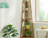 Bamboo Wooden Corner Storage Shelf Rack Shelving Unit Display Plant Stand