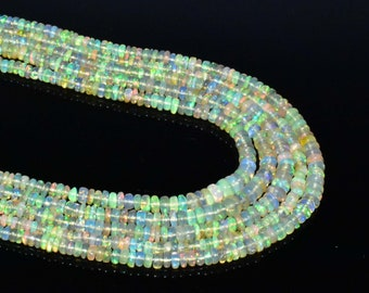 Top Quality Natural Ethiopia opal Roundel Faceted Beads 3 to 5 MM size 16inch long Strand AAA Quality Welo fire opal Beads in low prize CT4