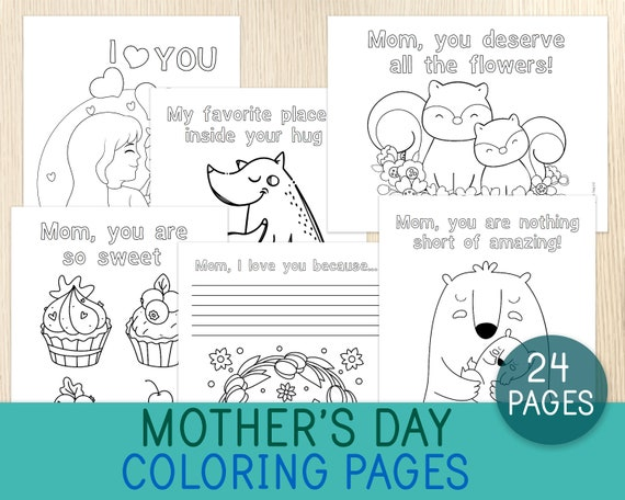 Mother's Day Coloring Pages 24 Sheets Coloring Book for