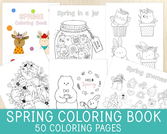 Spring Coloring Book 50 Pages Spring Activity Coloring