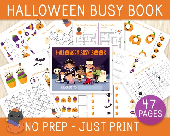 Halloween Busy Book NO PREP 47 Pages Learning Binder