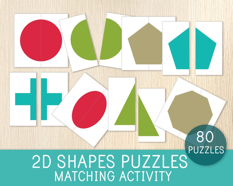 80 Puzzles Busy Bag Educational Game Toddler Quiet Time Preschool Geometry Matching Activity Math for Kids 2D Shapes Puzzles