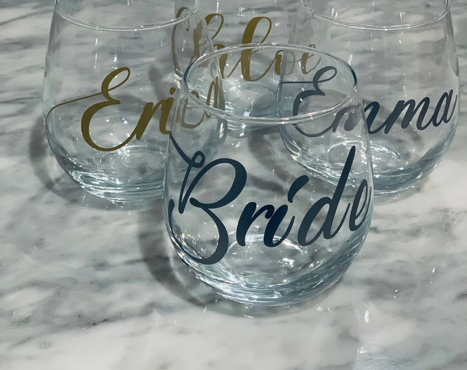 Featured listing image: Personalized Stemless Wine Glass, Bridesmaid Glasses, Bridal Party Gift, Proposal, Wedding, Housewarming gift, birthday, 21st birthday