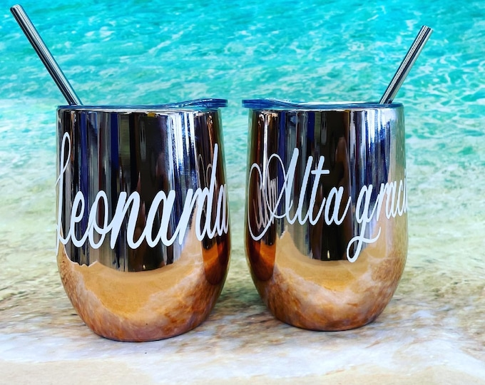 Featured listing image: Personalized Wine Tumbler, Customized Stainless Steel Travel Cup, Bridesmaid Gift, Custom Wine Glass, Wedding Favor, Bridal Party Gift, Bday