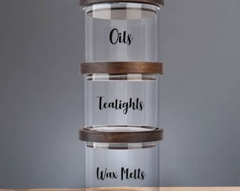 35x 37mm Diam PERSONALISED CANDLE POT GLASS JAR LABELS WAX MELT HOMEMADE STICKER