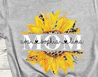 Mamaw Shark Baby Sunflower Children Song Cute Gift Mother Funny Black T-shirt