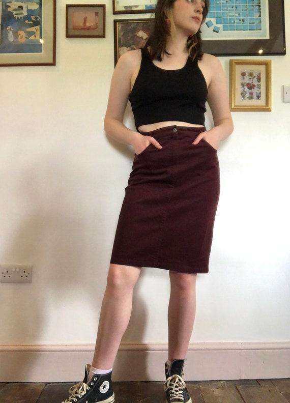 1980s high waist vintage leather mini skirt 80s 90s vintage brown boho womens XS 2 usa 24