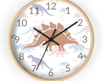 Bedroom SMALL Any Name Personalised Children/'s Dinosaur1 Toughened Glass Clock